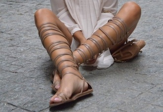 shoes knee high mocha colored sandals strap gladiator gladiator sandals nude strappy flats