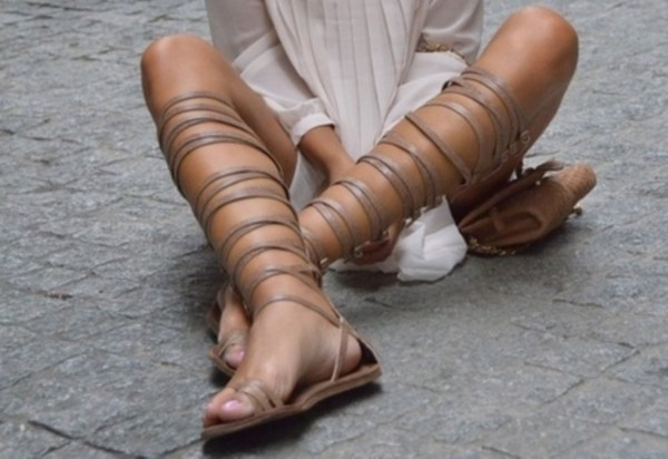 shoes knee high mocha colored sandals straps gladiators gladiators nude strappy flats