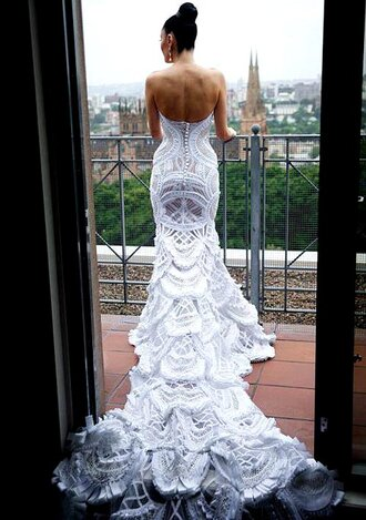 dress lace dress long dress white wedding dress train dress gown