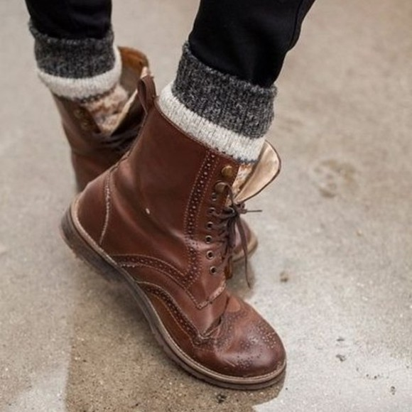 shoes old motives brown leather boots combat boots lace up ankle boots Oxford style hippie