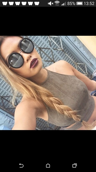 shirt round sunglasses suede top sunglasses