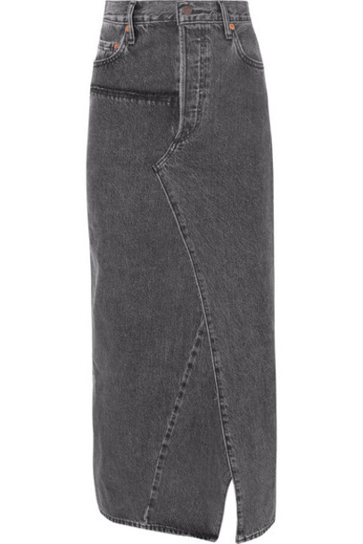 Vetements - Distressed Denim Maxi Skirt - Black