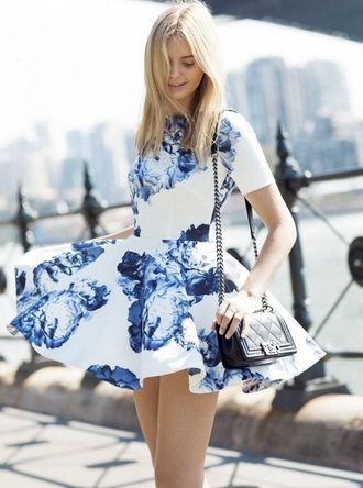 dress white blue dress floral floral dress white dress