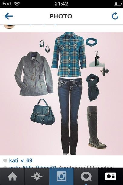 shirt jeans coat shoes scarf