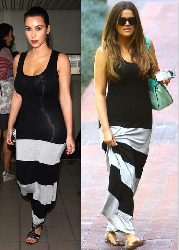 dress black and white khloe kardashian maxi wheretoget