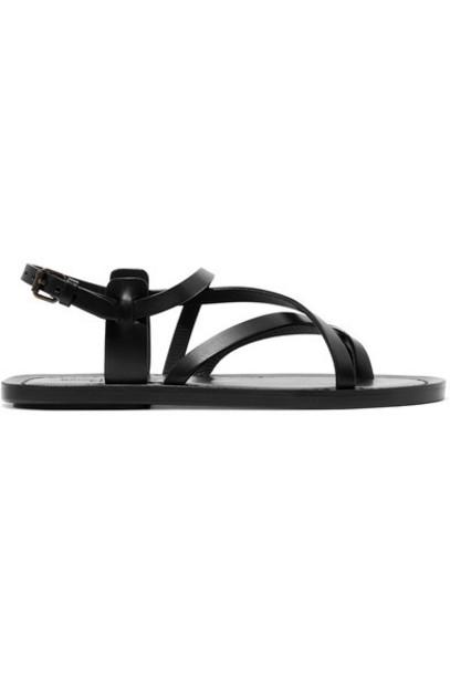 Saint Laurent sandals leather sandals leather black shoes