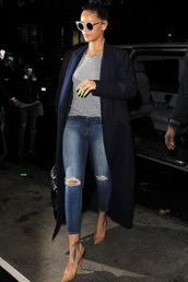 coat,top,jeans,sunglasses,shoes,rihanna