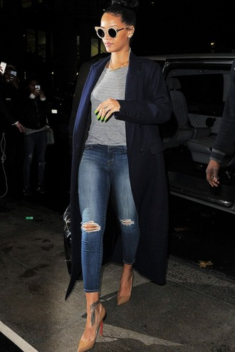 coat top jeans sunglasses shoes rihanna
