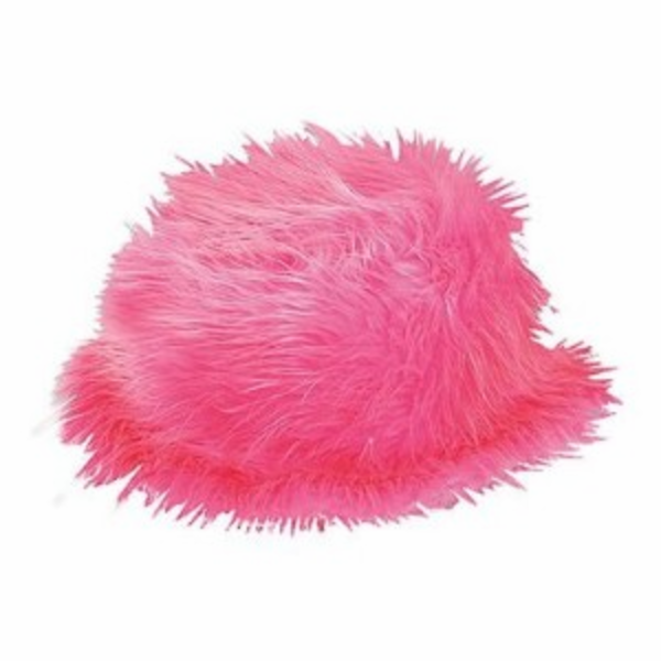 Pink furry bucket hat