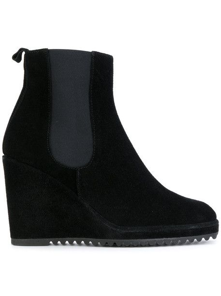 heel women boots chelsea boots leather suede black shoes