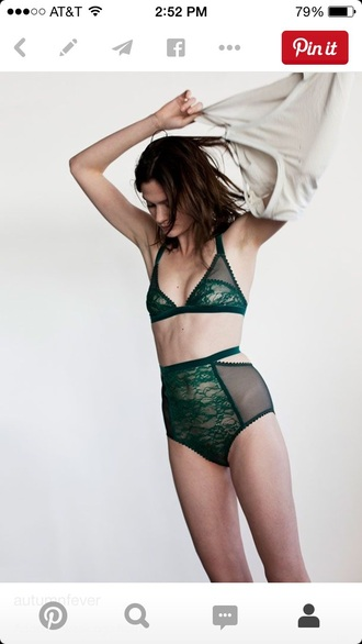 underwear green bralette lace lingerie high wasted forest green