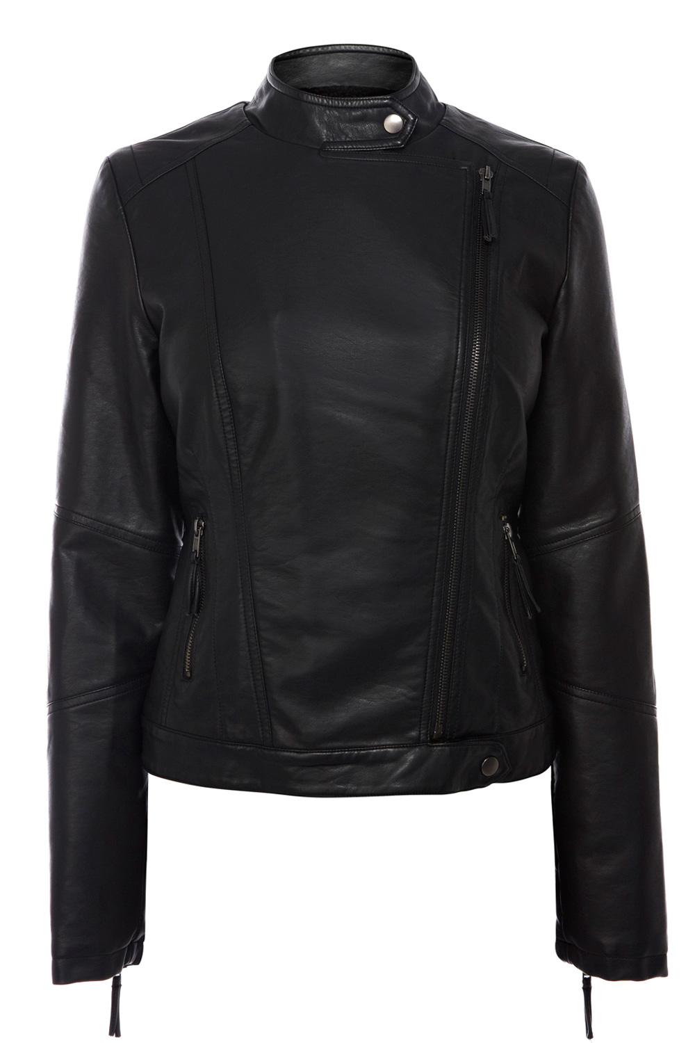 Borge Collarless Faux Leather Jacket | Black | Oasis Stores