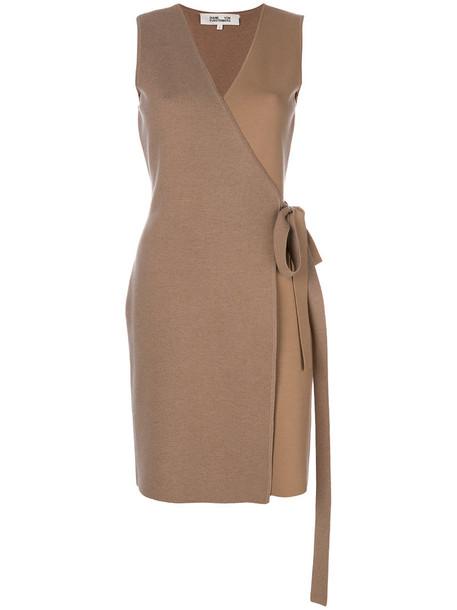 Dvf Diane Von Furstenberg dress wrap dress women spandex brown