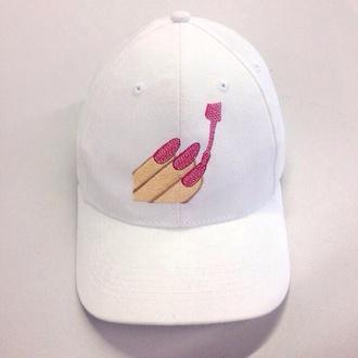 hat white hat emoji print pink cap white cap baseball cap