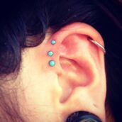 jewels,triple,forward,helix piercing,studs,piercing,turquoise