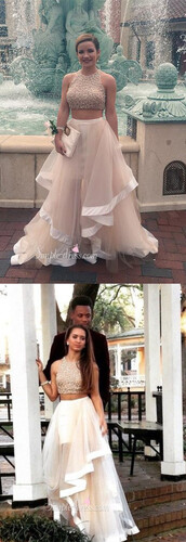 dress,2016 prom dress,2 piece prom dress,long prom dress