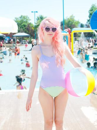swimwear mermaid one piece swimsuit purple shell stars