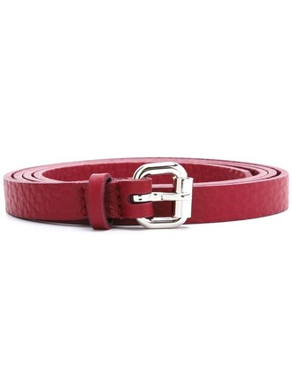 women belt leather red