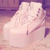 shoes,platform shoes,white,platform sneakers