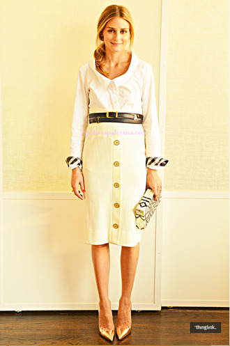 shirt olivia palermo shoes skirt belt