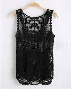 Sale Sexy Vintage Women Lace Floral Sleeveless Crochet Knit Vest Tank Top Shirt | eBay