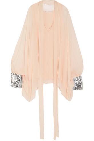 blouse embellished silk blush top