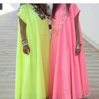 dress pink dress yellow dress djelaba summer dress urban bitch tendance