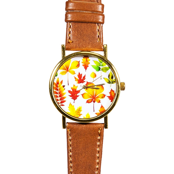 Autumn Fall Leaves Watch, Vintage Style Leather Watch, Women Watches, Boyfriend Watch, Unisex