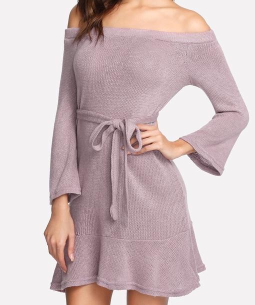 dress girly muave sweater sweater dress off the shoulder off the shoulder dress knit