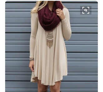 dress tan piko dress long sleeve dress beige dress mini dress