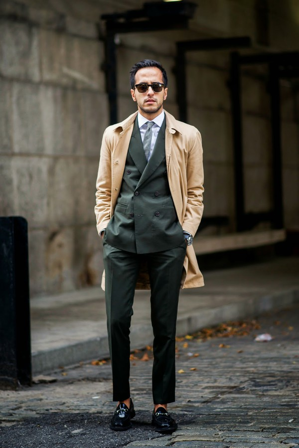 the metro man blogger jacket jewels menswear trench coat tailoring forest green elegant classy apc mens suit suit
