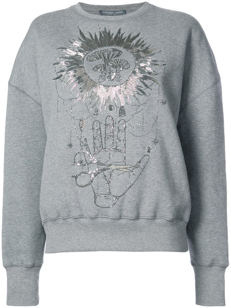 Alexander Mcqueen jumper embroidered women cotton grey sweater