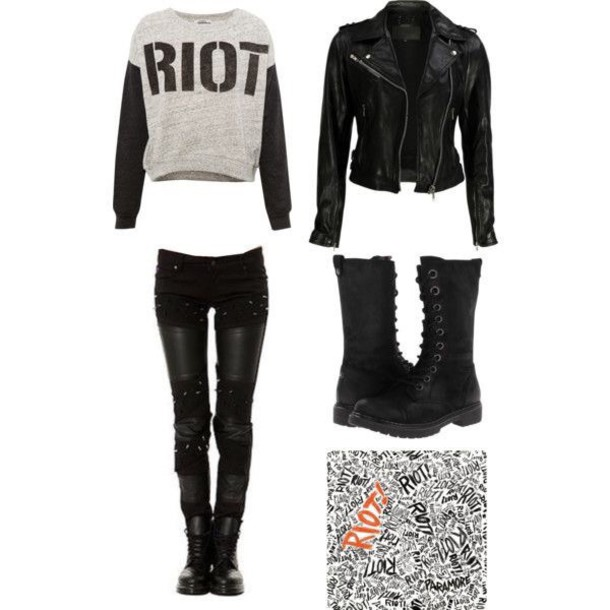 sweater paramore black and grey jeans grey