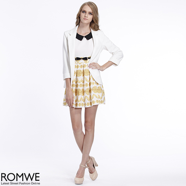 ROMWE | ROMWE Long Sleeves Rolled Cuffs White Blazer, The Latest Street Fashion