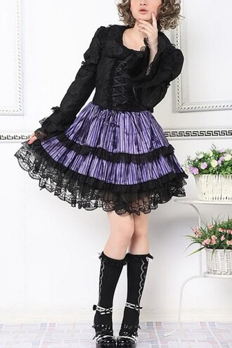 dress lolita purple boots black dress purple dress cute shoes