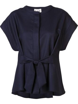 t-shirt shirt women blue wool top