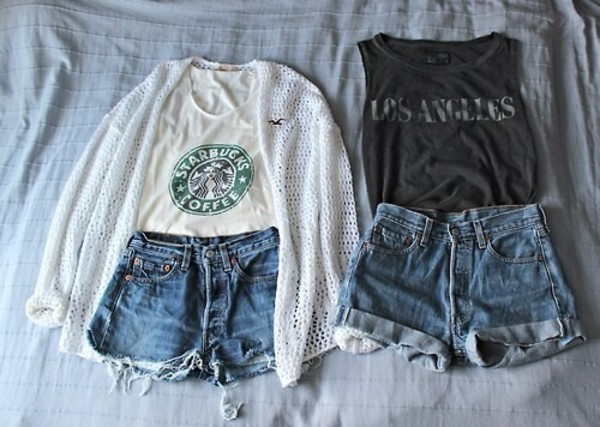 blouse shirt shorts starbucks coffee