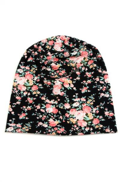hat floral beanie