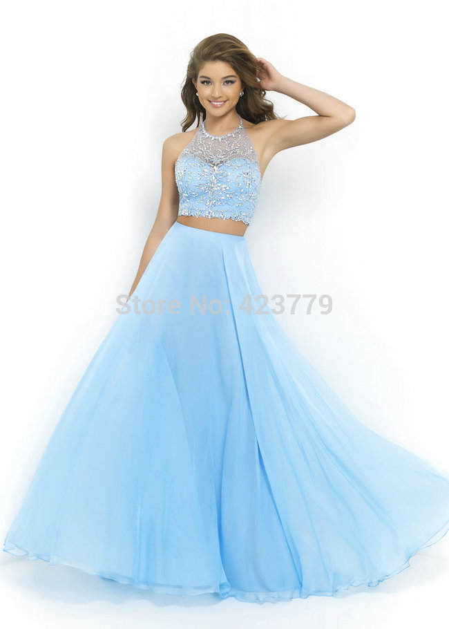 Aliexpresscom Buy Newest Design A Line Crystal 2 Piece Prom Dress