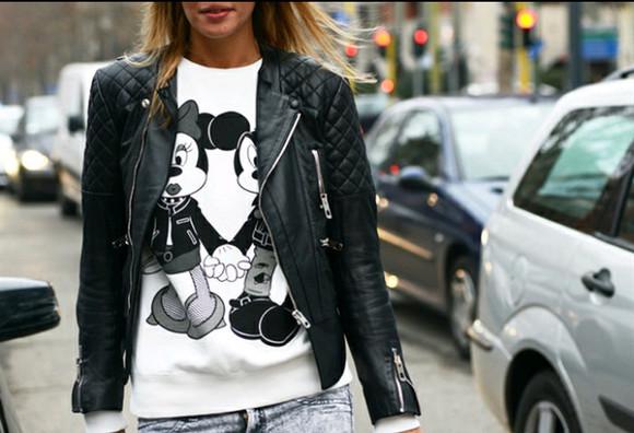 disney jeans top crewneck mickey mouse minnie mouse leather jacket jacket