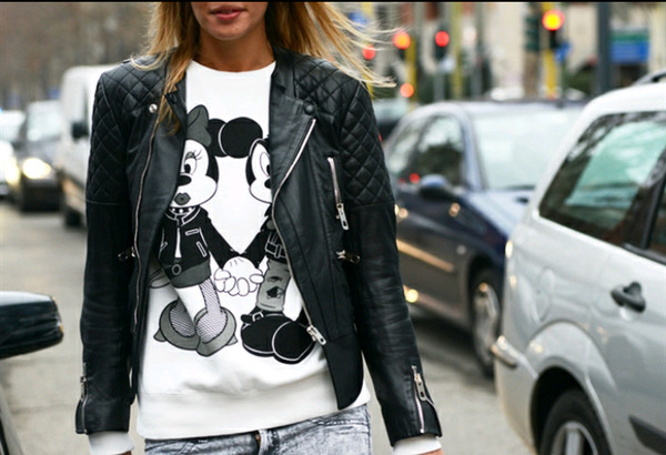 crewneck mickey mouse minnie mouse leather jacket top jeans disney jacket sweater