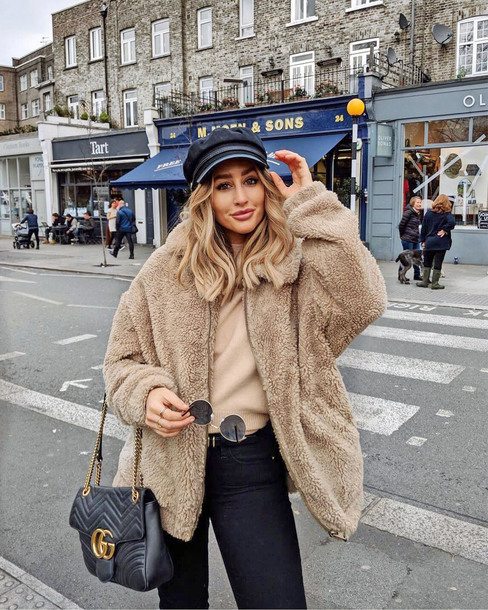 jacket tumblr fuzzy coat teddy bear coat sweater knit knitwear hat fisherman cap bag black bag