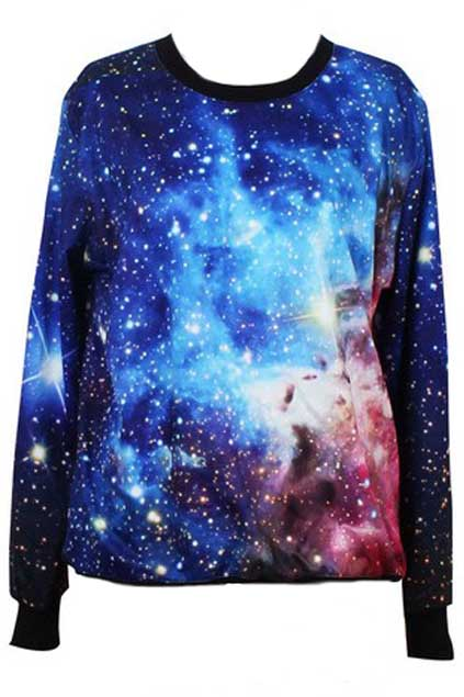 ROMWE | Galsxy Print Loose Style Pullover, The Latest Street Fashion