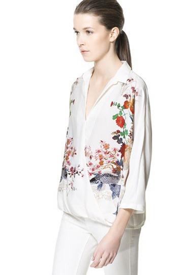 V-neck Retro Printed Chiffon Shirt [FDBI00211]- US$36.99 - PersunMall.com