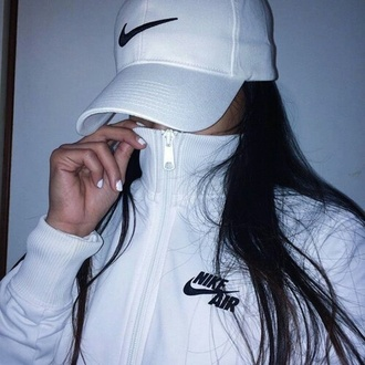 jacket nike air white black nike air jacket urban hat nike sportswear black and white sportswear style cute nike tumblr outfit tumblr dope nike jacket white hat nike hat shirt coat nail polish
