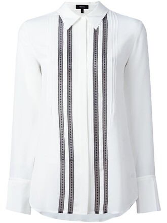 shirt pleated white top