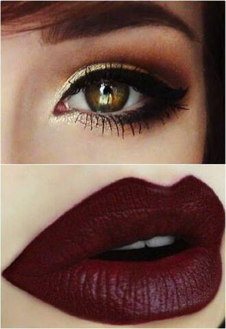 make-up red lipstick lipstick red new year's eve gold eye shadow valentines day hair/makeup inspo bronze