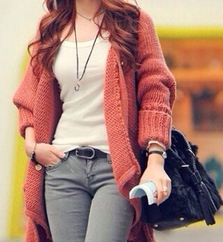 Oversize button down knitted cardigan