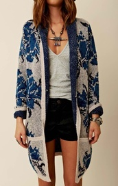 sweater,oversized sweater,floral,vintage,jewels,cardigan