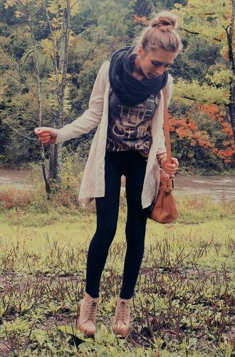 shoes casual cardigan brown white scarf coldweather shirt jeans